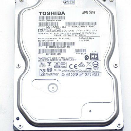 "Toshiba 1000GB (1TB) Internal 7200RPM 3.5"" (DT01ACA100) HDD. Power on 35 Hours"